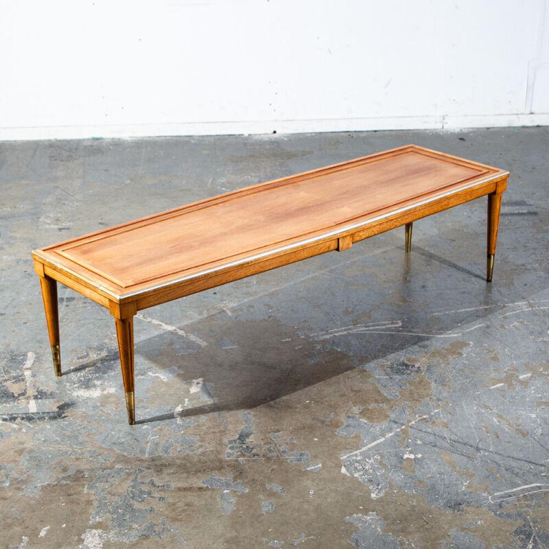 Mid Century Modern Coffee Table Surfboard Blonde Restored Brass Vintage Denmark
