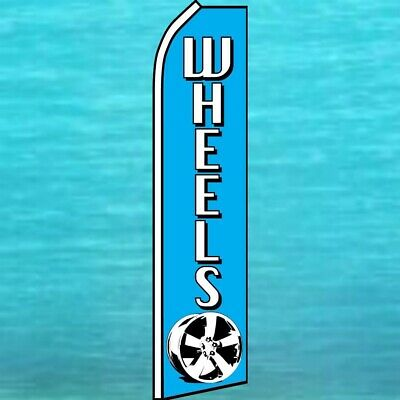 Wheels Flutter Flag Tall Curved Top Advertising Feather Swooper Wind Banner Sign