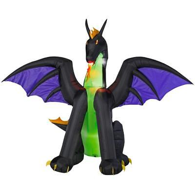 Halloween Gemmy 6 ft Lighted Dragon with Flaming Airblown Inflatable NIB (Monster Door Decorations)