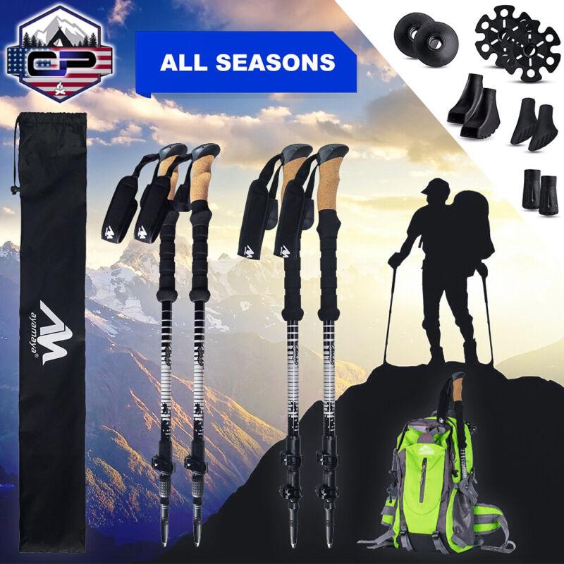 2x Carbon Fiber / Alloy Aluminum Adjustable Trekking Poles Hiking Walking Sticks