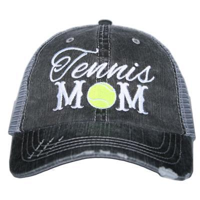 "BASEBALL CAP- TRUCKER CAP - BLACK "" TENNIS MOM""  HAT - MESH HAT"