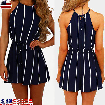 Womens Striped Mini Playsuits Summer Beach Shorts Sundress Jumpsuit Rompers S-XL