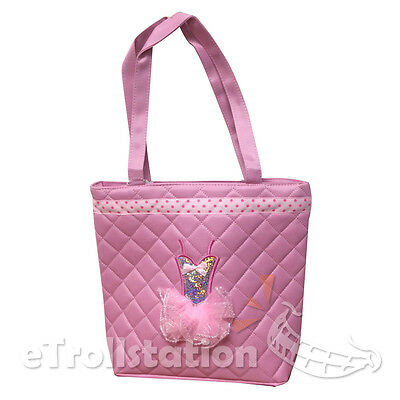New Girls Light Pink Tote Dance Bag Dance Quilted Dress Ballet Tutu Polka Dots
