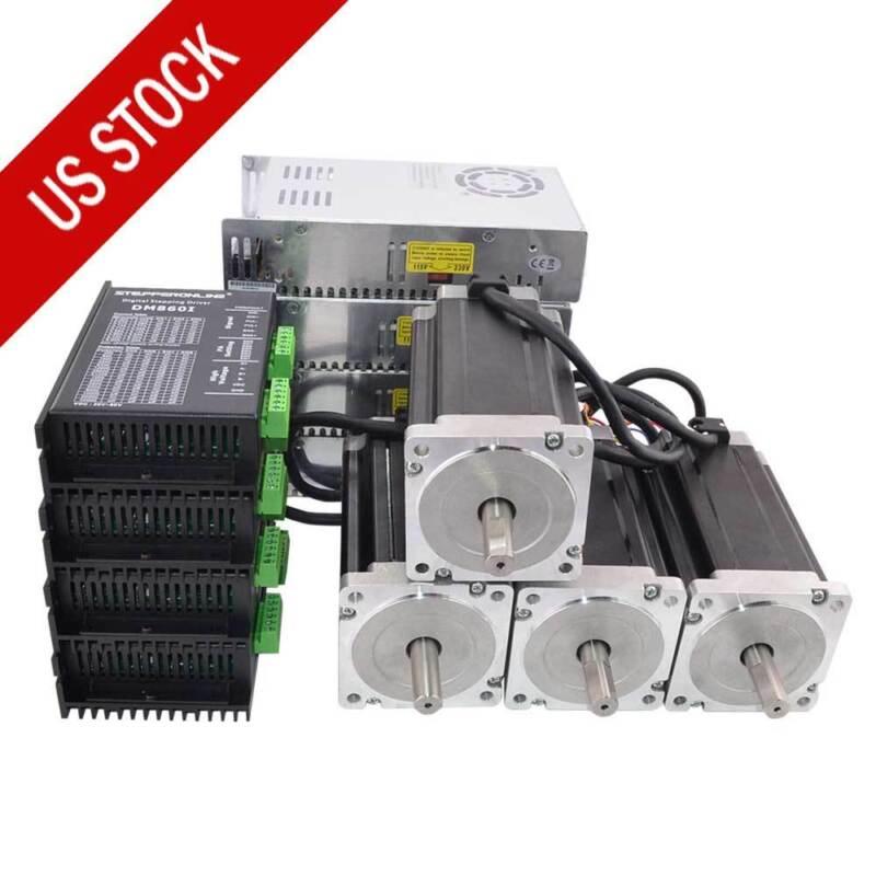 4 Axis CNC Kit 13Nm(1841oz.in) Nema 34 Stepper Motor & Driver & Power Supply