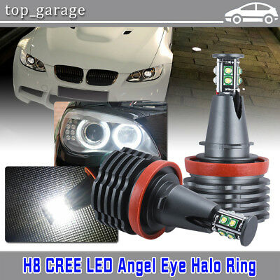 80W CREE H8 Angel Eyes LED Halo Ring Light Car Bulbs 6000K White For BMW E90 E92 Angel Eyes Car