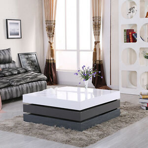 Modern 3 Layer High Gloss White Grey Rotating Square Storage Coffee Table