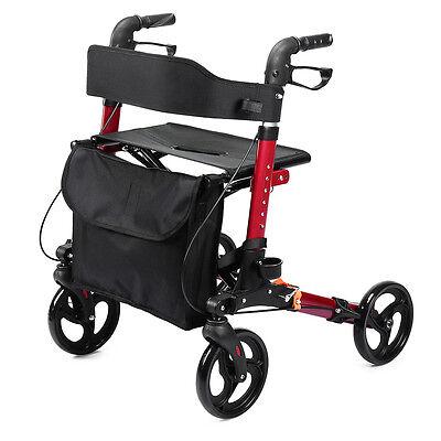 ELENKER Euro Style Medical Seat & Back Folding Rollator Walker Four Wheel Drive