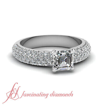 1.50 Ct Asscher Cut Diamond Encrusted Layer Engagement Rings For Women 14K GIA
