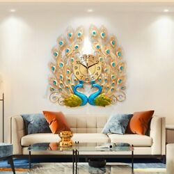 AUGIENB 3D Peacock Wall Clock Large Accurate Mute Metal Art Creative Clock