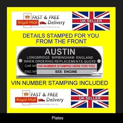 AUSTIN MINI COOPER FARINA  MINI ID ALL BLANK VIN CHASSIS PLATES STAMPED FOR YOU