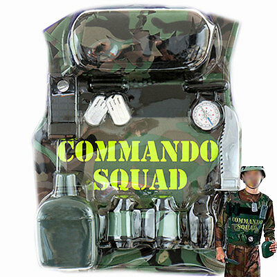 Boys Child Army Soldier Costume Camo Military Kit playset Helmet Vest Compass NW (Kids Army Kit)