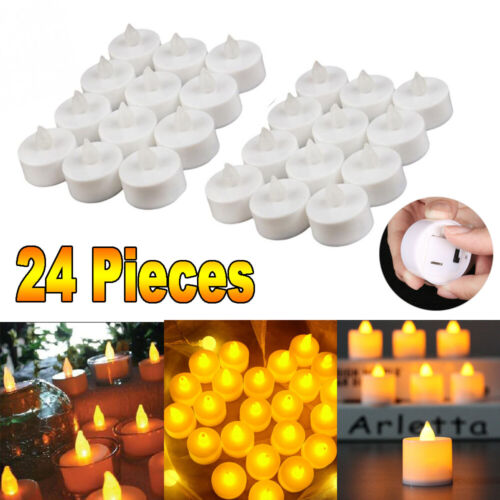 24 PCS Flameless Votive Candles Lamp Battery Operated Flicke