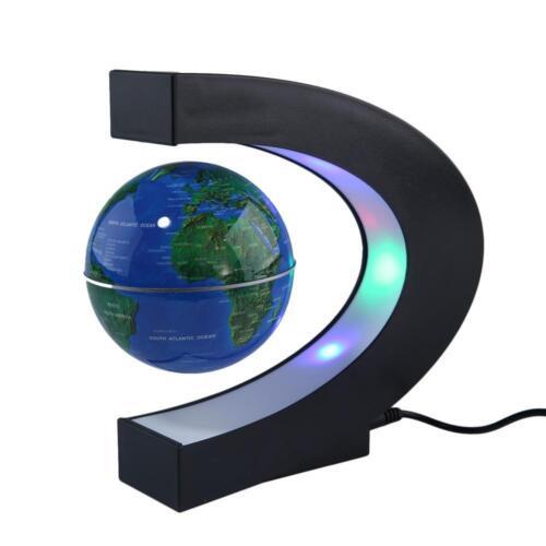 New C Shape LED Magnetic Levitation Floating Globe World Map Rotating Home Decor