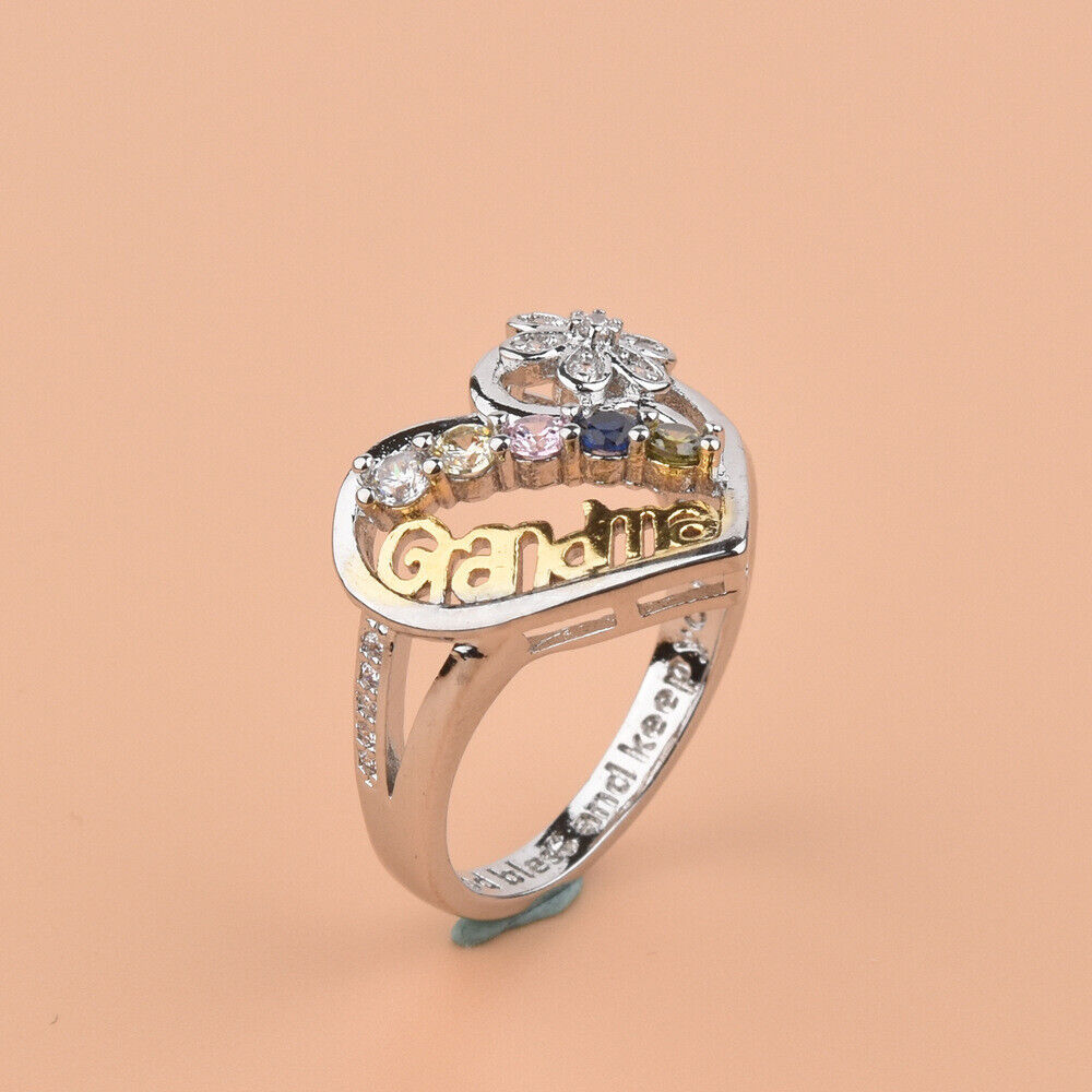 Personalized Family Ring Gift For Rhinestone Hollow Rings Mother/'s Day