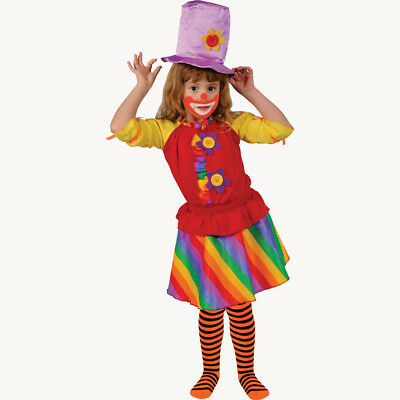 Rainbow Girl'S Clown Costume for Kids By Dress up America](Rainbow Costume For Kids)