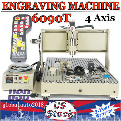 4axis 6090t Cnc Router Usb Engraver Drilling Milling Machine 2.2kw Handwheel