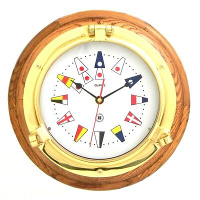 Bey-Berk International Brass Porthole Clock on Oak with Nautical Numbers -