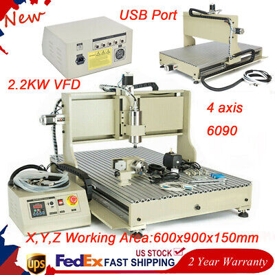 2.2kw 4 Axis Cnc Router 6090t Engraver Usb Metal Wood Drilling Mill Cut Machine