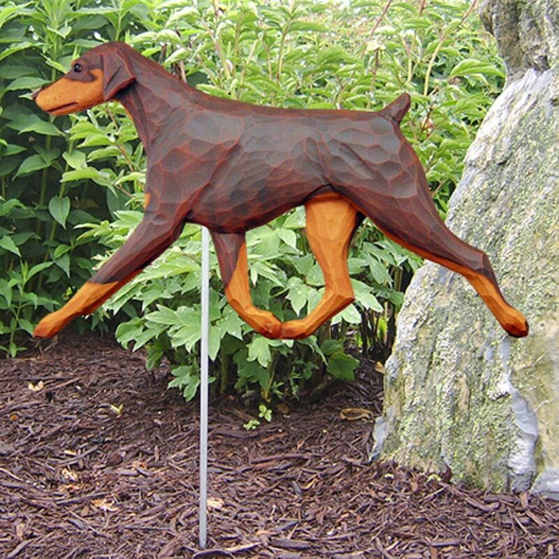 Doberman Pinscher Outdoor Garden Sign Hand Painted Figure Red/Tan Uncropped