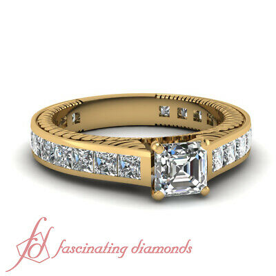2.25 Ct Asscher Cut Channel Set 14K Yellow Gold Diamond Wedding Rings Set GIA