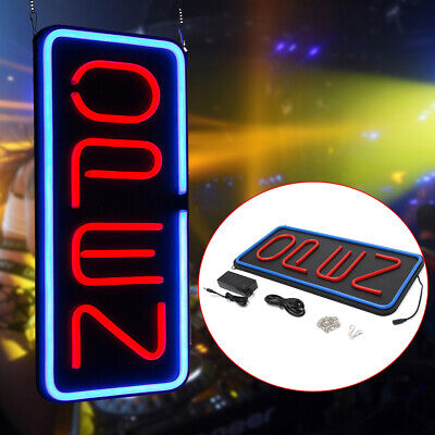 Big 23.6x11.8 Led Vertical Neon Open Sign Business Bright Led Large Redblue