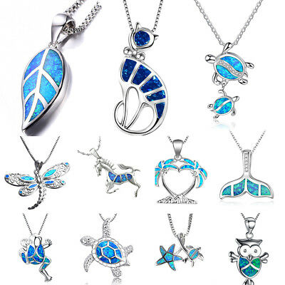Sea Turtle Ocean Blue Fire Opal Inlay Silver Plated Jewelry Necklace - Turtle Necklaces