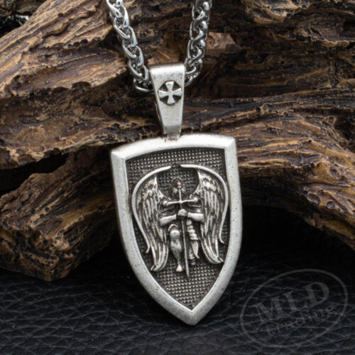 Archangel Saint St Michael Medal Shield Pendant Necklace Stainless Steel Chain