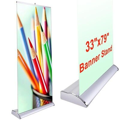 33x79 Pop Up Banner Stand Retractable Roll Trade Show Sign Wedding Party Display, used for sale  La Puente