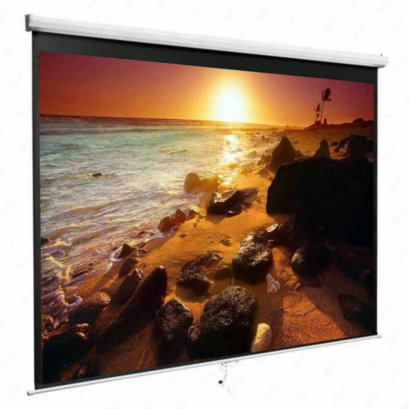 84 Inch 16:9 Manual Pull Down Projector Projection Screen Home Theater Movie