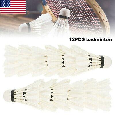 12Pcs Training Goose Feather Shuttlecocks Birdies Badminton Ball Games Sports US