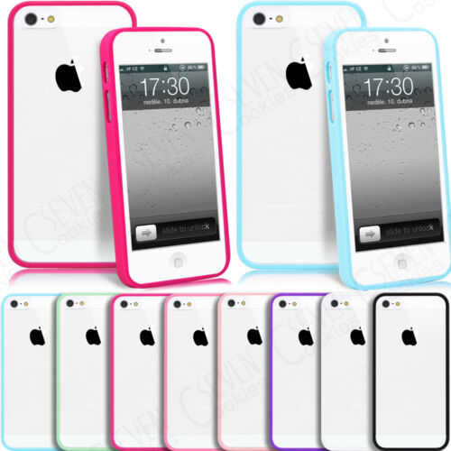 Clear Hard Back Silicone TPU Bumper Case Cover for iPhone 4 4S 5 5S SE Free Film
