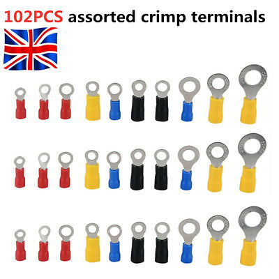 102Pcs Assorted Insulated Ring Crimp Terminals Electrical Wire Connector UK