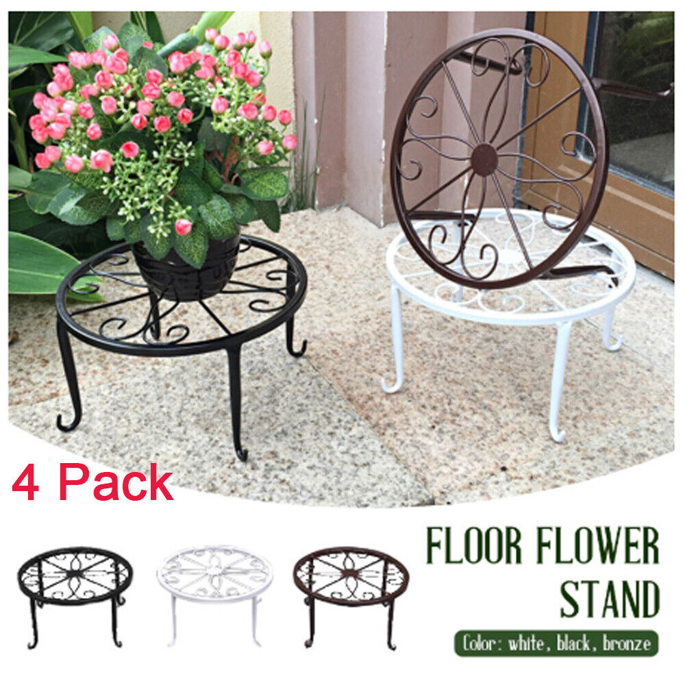 garden decor - 4 x Iron Plant Stand Flower Pot Holder Wrought Indoor Outdoor Home Garden Decor