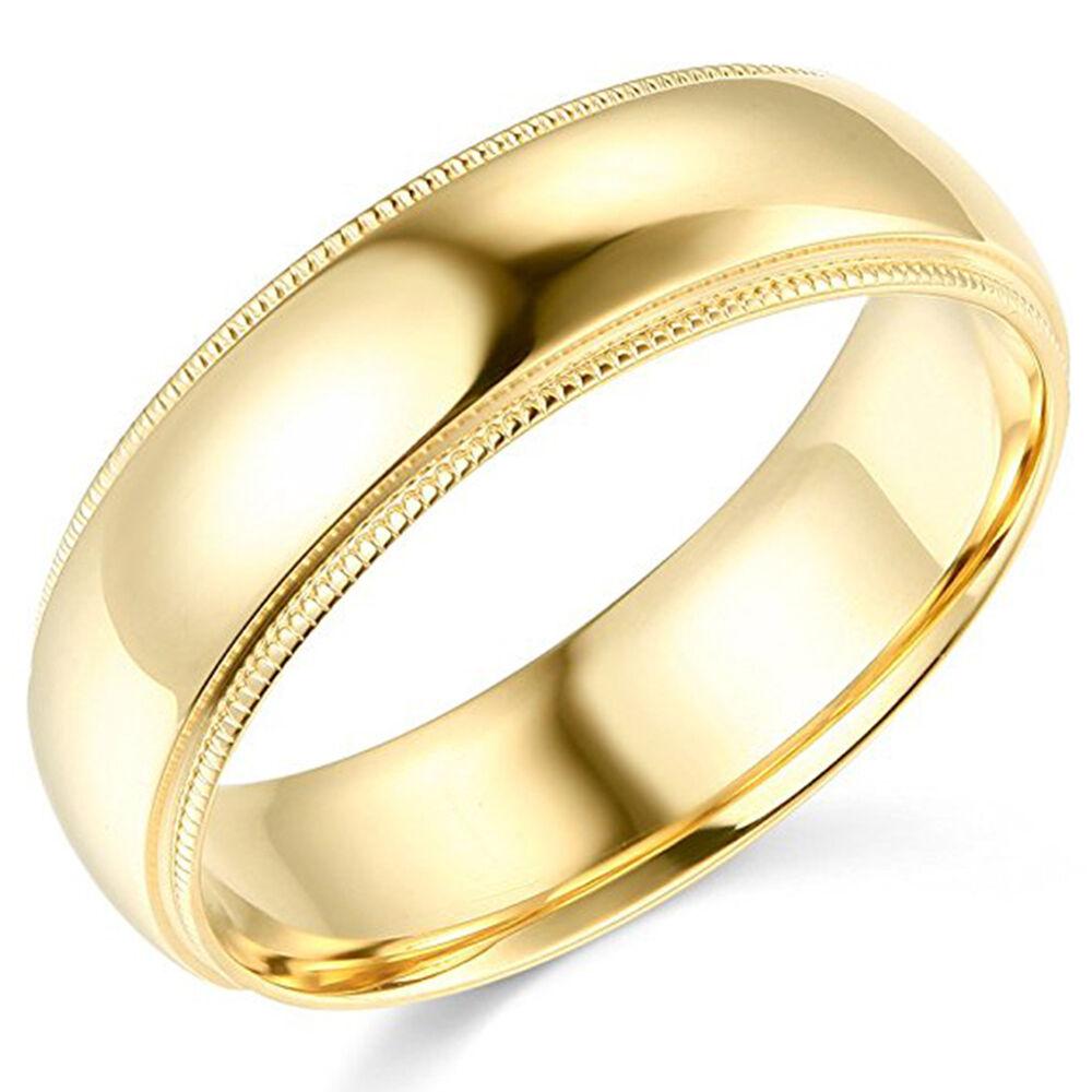 10K Yellow Gold 2mm 3mm 4mm 5mm 6mm Comfort Fit Men Women Milgrain Wedding Band 5