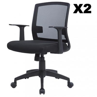 Set Of 2 Ergonomic Midback Mesh Office Chair Swivel Computer Desk Task Chair