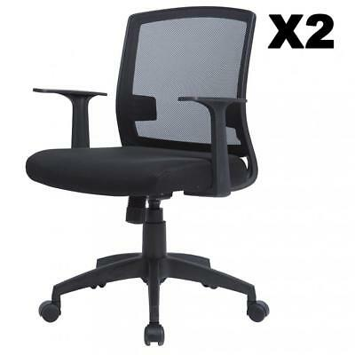 Set Of 2 Ergonomic Midback Mesh Office Chair, Swivel Computer Desk Task Chair