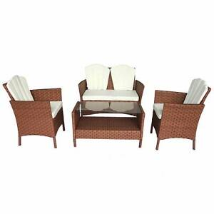 Luxo Payton 4pc PE Wicker Outdoor Leisure Setting - Brown Seven Hills Blacktown Area Preview