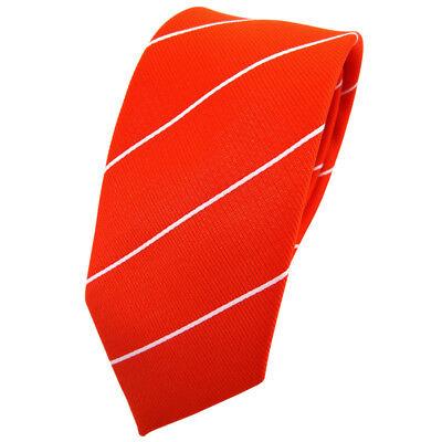 Schmale TigerTie Krawatte orange leuchtorange neonorange silber gestreift - Tie
