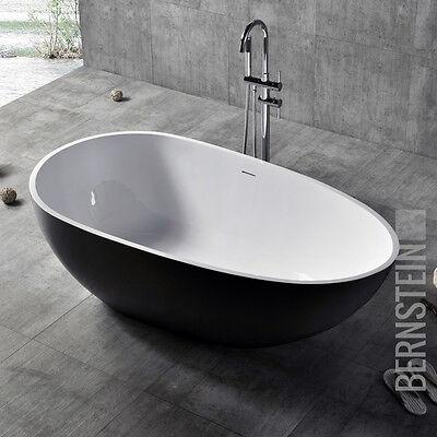 Freistehende Badewanne VELA Mineralguss Solid Stone - Farbe und Größe wählbar (Stone Freistehende Badewanne)
