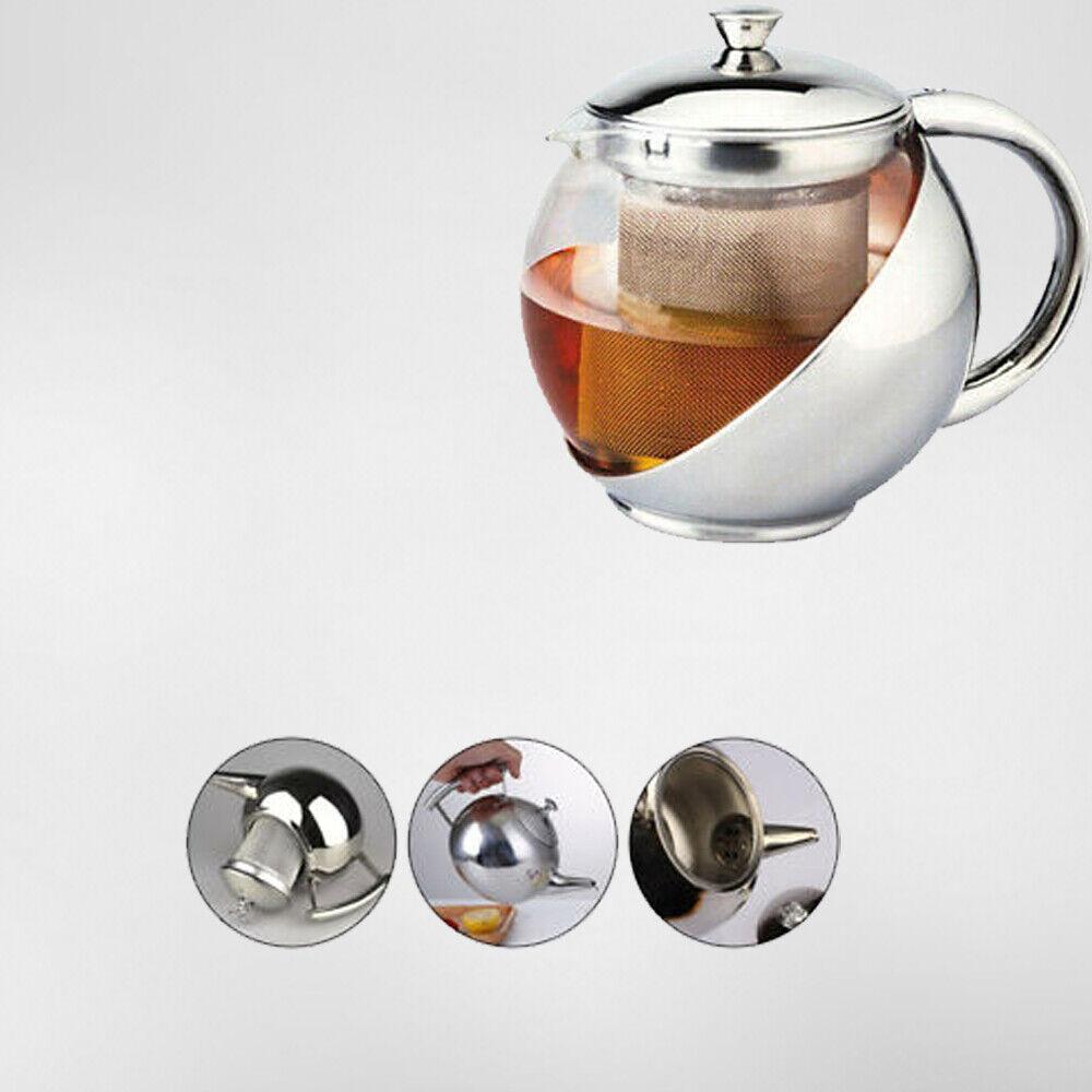 Tisaniera Con Filtro in Acciaio e Vetro Capienza 750ml Per Cottura Servizio Tea