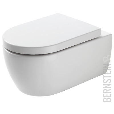 BERNSTEIN Spülrandloses Wand Hänge WC NANO Softclose Deckel Toilette Spülrandlos (Toiletten)