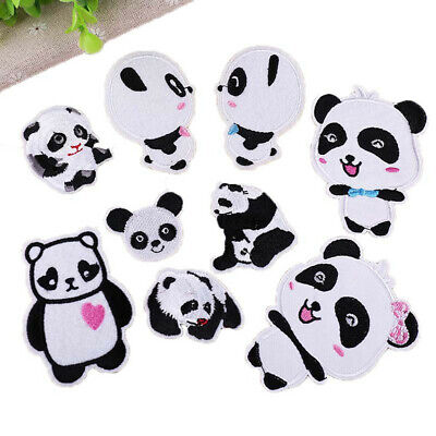 Baby Fabric Stickers (Panda Patches Embroidered Animal Iron On Patch Fabric Baby Clothes Sticker DIY )