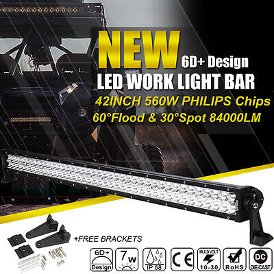 6D+ 42in 560W PHILIPS LED Work Light Bar Spot Flood 4WD For Jeep Offroad Driving