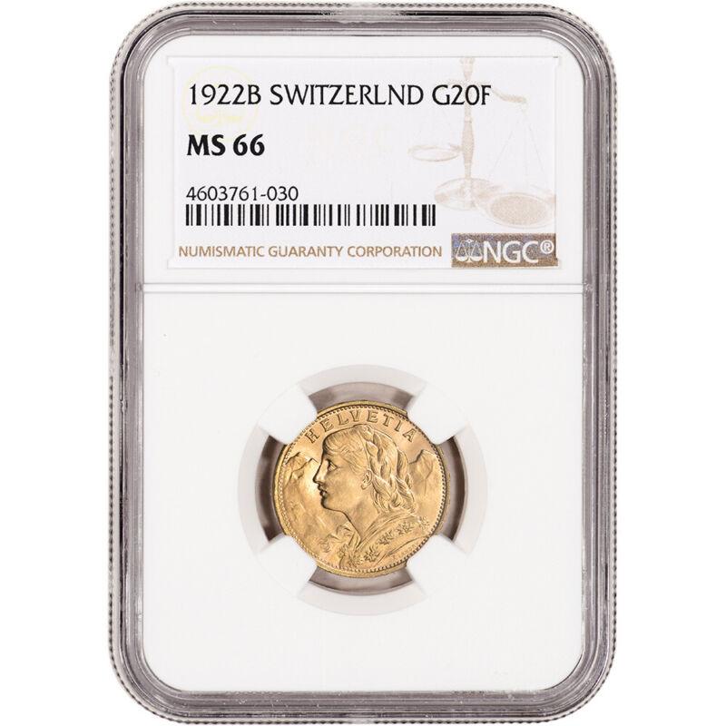1922 B Switzerland Gold 20 Francs - NGC MS66