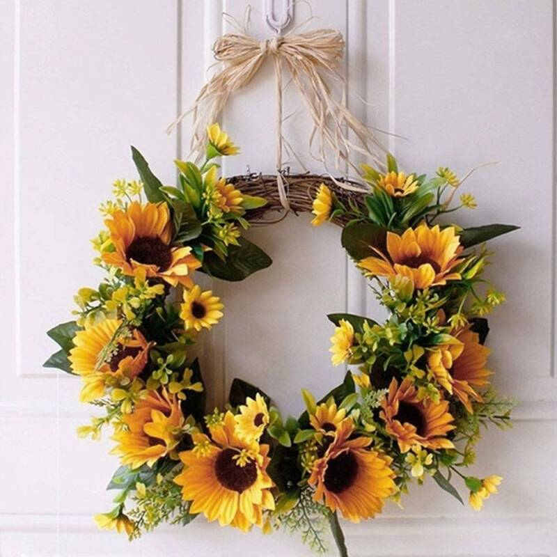 Home Decoration - Artificial Sunflower Wreath Hanging Door/Wall Garland Ring Home Party Decor