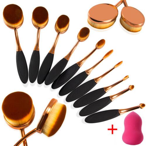 10Pcs Professional Oval Cream Makeup Brush Set Kabuki Toothb