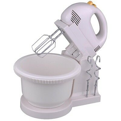 5 Speed 200W Power Hand Stand Mixer Kitchen Egg Beater w/Free Bowl Dough Hooks