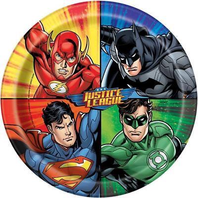 JUSTICE LEAGUE PACK OF 8 PARTY PLATES 21.9CM BATMAN SUPERMAN GREEN LANTERN NEW (Superman Party Pack)