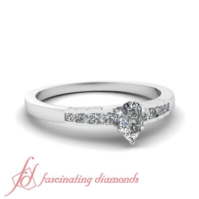 1/2 Carat Channel Set Womens Diamond Engagement Ring With Pear Shaped Center GIA