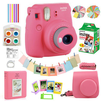 Fujifilm Instax Mini 9 Camera + 20 Fuji Instant Film + Bag + Album w/10 in 1 Kit